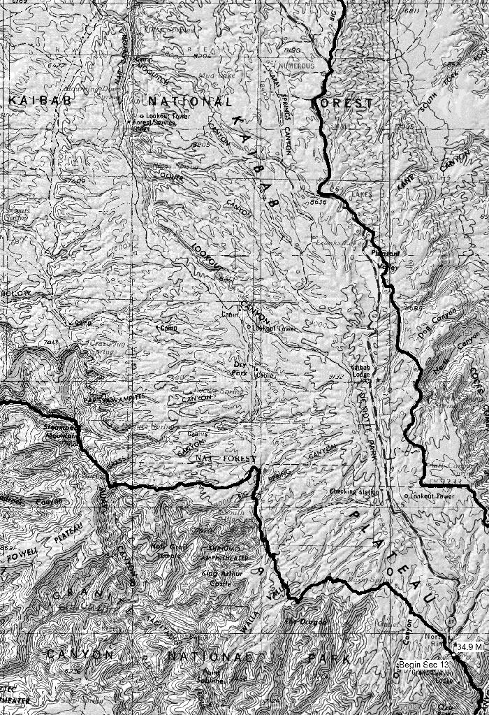 Section 13 north rim grand canyon np to hack canyon az